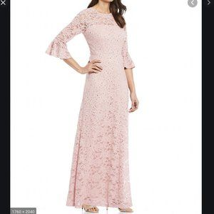 NWT LF Leslie Fay lace maxi Bell slv Sequin dress